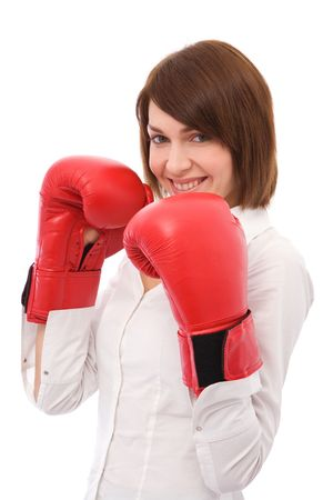 Beautiful woman ready for boxing on white Stock Photo
