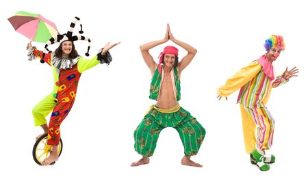 jester: funny looking circus comedians with different poses on white Stock Photo