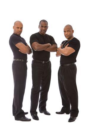 garde corps: les hommes en noir sur fond blanc