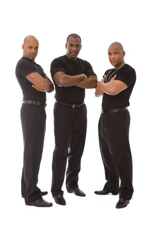 men in black on white background