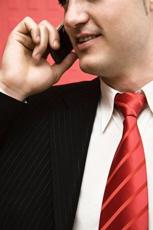 telework: Young businessman talking on the phone with a smile