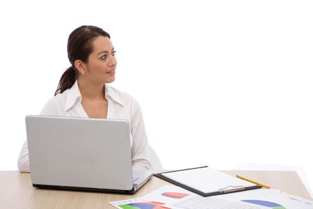 telework: Businesswoman at the office with a modern laptop, shallow dof Stock Photo