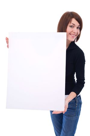 Casual beautiful woman with a blank message sign on white photo