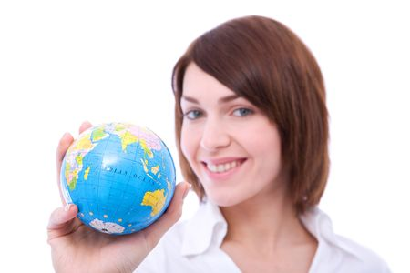 online internet presence: Business communications concept with a businesswoman holding globe Stock Photo