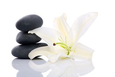 volcanic stones: spa lastone concept with volcanic stones and lily flower