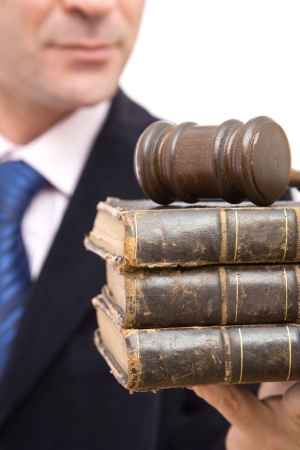 business laws and education concept with old books and gavel