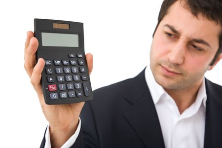 Businessman holding a modern calculator on white background photo
