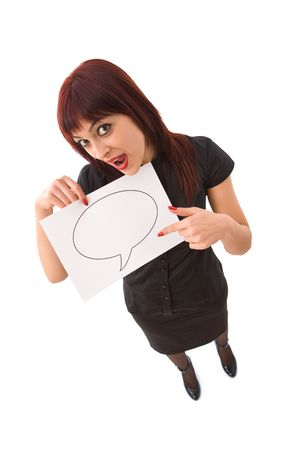 Business concept with businesswoman holding a blank board for your messages photo
