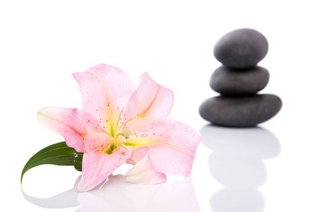 lastone: Volcanic stones, lily, towels for spa and lastone concept