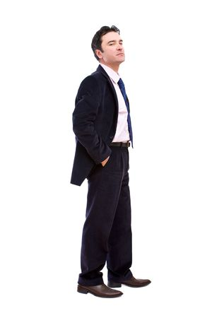 Senior angry businessman portrait on white background photo