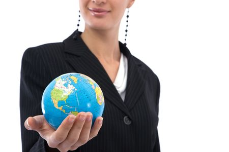 online internet presence: Business communications concept with a businesswoman holding globe