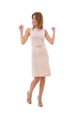 potrait: happy businesswoman potrait on white background Stock Photo