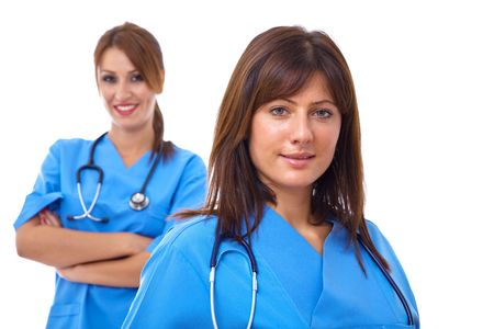 team of young doctors with stethoscopes on white and shallow dof photo