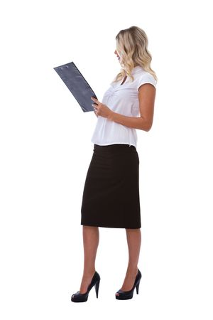 describing: Beautiful businesswoman with clipboard on white background