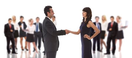 business teamwork concept with a handshake and big team Stock Photo - 5329652