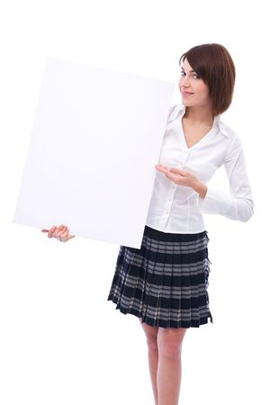young businesswoman at presentation with blank board photo