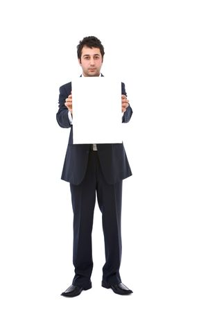 Young confident businessman with blank board background photo