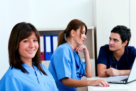 medical teamwork concept with doctors at the hospital photo