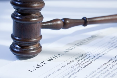 legal document: last will and gavel for finance and legal concept Stock Photo