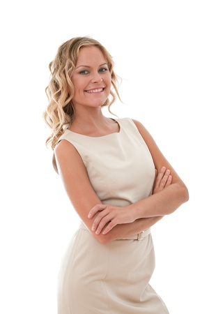 happy businesswoman with a big smile on white photo