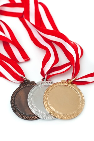 Gold, silver and bronze  medals  with ribbons Stock Photo