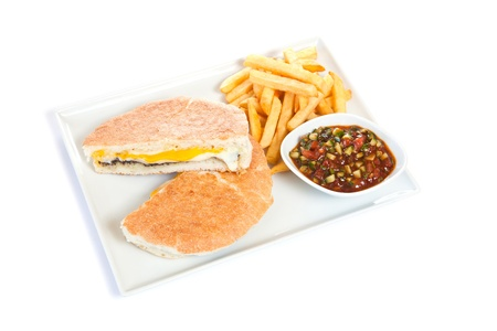 Cheese fillet with french fries and sauce Stock Photo - 8391142