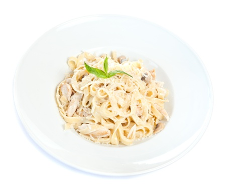 ready to eat: Chicken fettuccine pasta is ready to eat Stock Photo