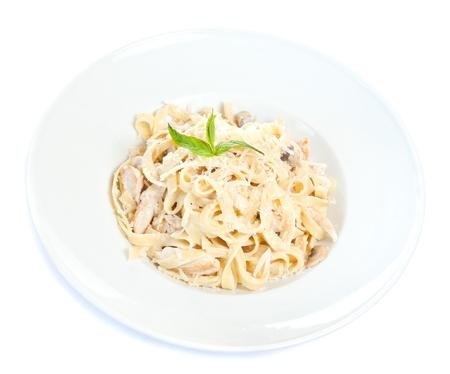 fettuccine: Chicken fettuccine pasta is ready to eat Stock Photo