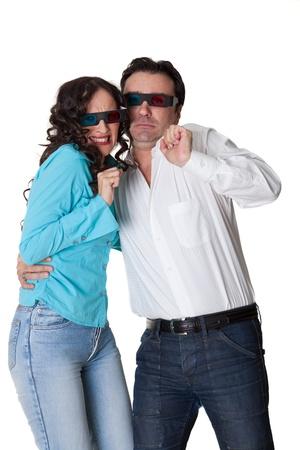 couple watching a horror film afraid photo
