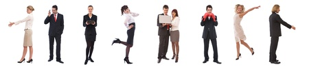 business teamwork concept with different poses of people photo