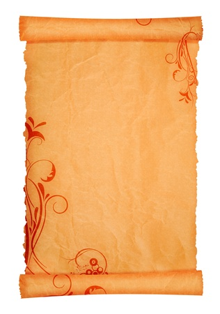 scroll paper background texture with flower ornaments photo