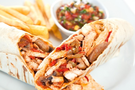 Tacos with french fries and sauce photo