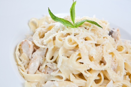 Chicken fettuccine pasta is ready to eat photo