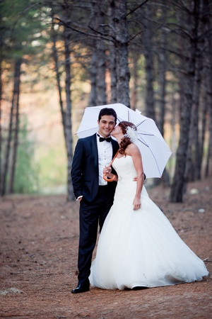 wedding couple happy together at the forest Stock Photo - 8651053