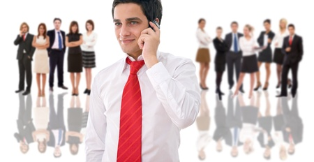 business communication concept with a man talking on phone photo