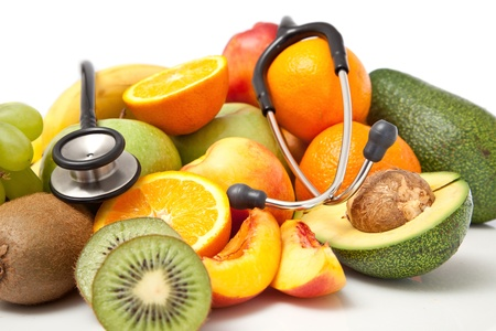 healthy fruits concept with stethoscope Stock Photo - 8744361