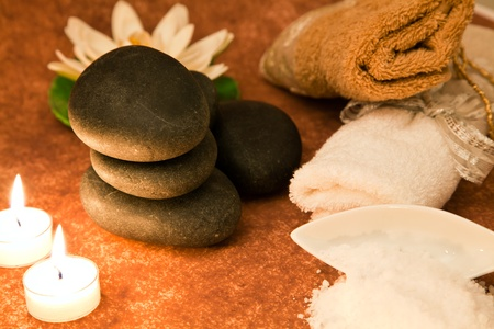 beautycare: spa concept with lastone, candles and salt