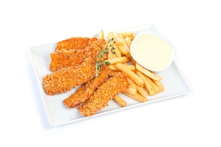 Chicken nuggets with french fries and yogurt sauce Stock Photo - 8738562