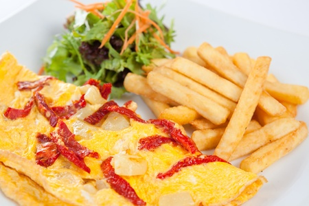 Garnished crepe with fried chips and salad Stock Photo - 8744376