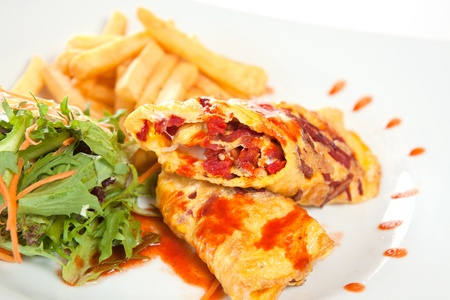 Tempting crepes with salad and fries Stock Photo - 8744380