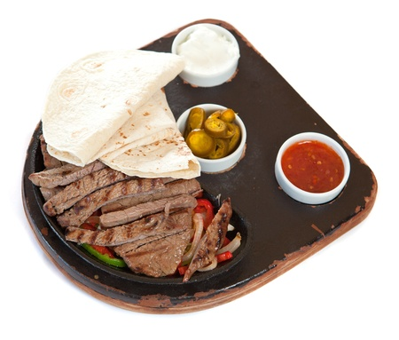 sauces: Tortillas with marinated steaks and sauces Stock Photo