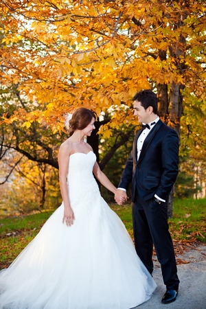 happy bride and groom at a park on their wedding day Stock Photo - 8744396