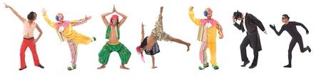 clown cirque: beaucoup de différents comédiens à faire des grimaces sur blanc