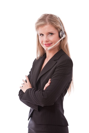 hands free device: Customer care executive interacting on headset