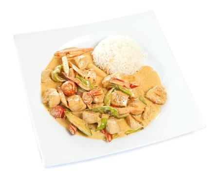 chicken curry: Gesunde und nahrhafte Curry-Huhn mit Reis Lizenzfreie Bilder