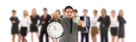 time is money concept with a business supervisor and his team photo