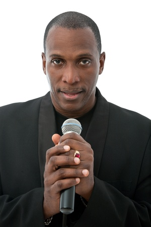 African American singer standing on a white background photo