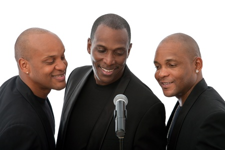 african amerian singers on white background, all happy