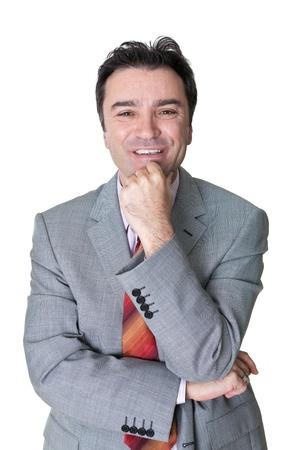 senior businessman portrait on white background