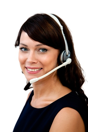 a young and beautiful customer service representative on white